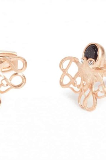Simon Carter Darwin Octopus In Rose Gold And Blue Goldstone Cufflink 1