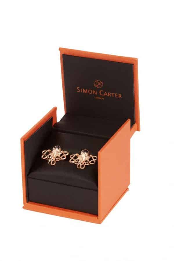 Simon Carter Darwin Octopus In Rose Gold And Blue Goldstone Cufflink 2